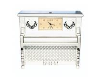 UPRIGHT PIANO WITH CLOCK MATT SILVER