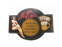 WALL PLAQUE MAN CAVE SPEND