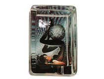 GLASS ASHTRAY MIRROR BALL BLK/WHITE