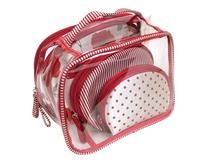 4PC COSMETIC BAG SET RED