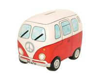 PEACE CAMPERVAN MONEY BOX RED