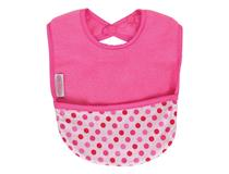 FLEECE POCKET BIB CERISE/DOTS