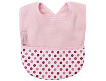 FLEECE POCKET BIB PALE PINK/DOTS