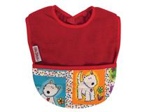 FLEECE POCKET BIB RED/DOG